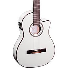 Ortega Family Series Pro RCE145WH Thinline Acoustic Electric Nylon Guitar