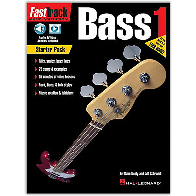 Hal Leonard FastTrack Bass Method - Starter Pack Book/Online Audio and Video