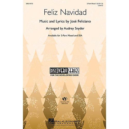 Hal Leonard Feliz Navidad 3-Part Mixed arranged by Audrey Snyder