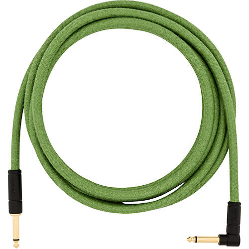 Fender Festival Pure Hemp Straight to Angle Instrument Cable 10 ft. Green