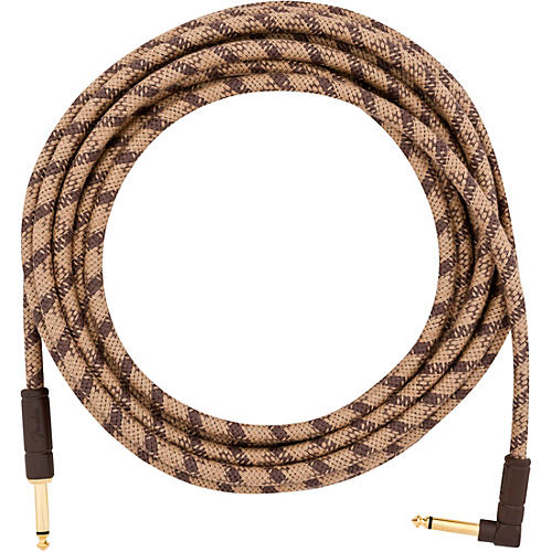 Fender Festival Pure Hemp Straight to Angle Instrument Cable 18.6 ft. Brown
