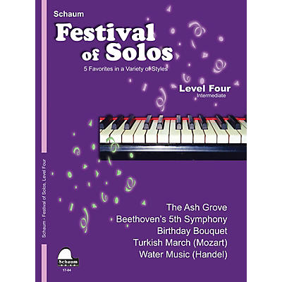 SCHAUM Festival of Solos (Level 4 Inter Level) Educational Piano Book by Various
