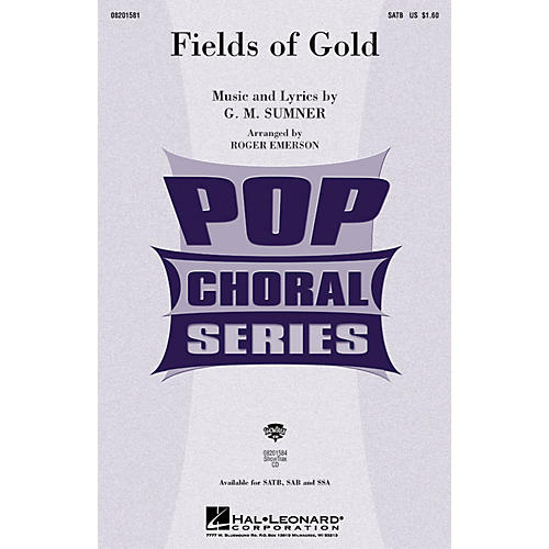 Hal Leonard Fields of Gold SATB by Eva Cassidy arranged by Roger Emerson