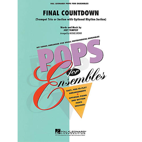 Hal Leonard Final Countdown (Trumpet Trio or Ensemble (opt. rhythm section)) Concert Band Level 2-3 by Michael Brown