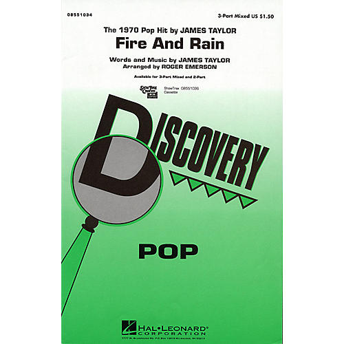 Hal Leonard Fire and Rain 3-Part Mixed by James Taylor arranged by Roger Emerson