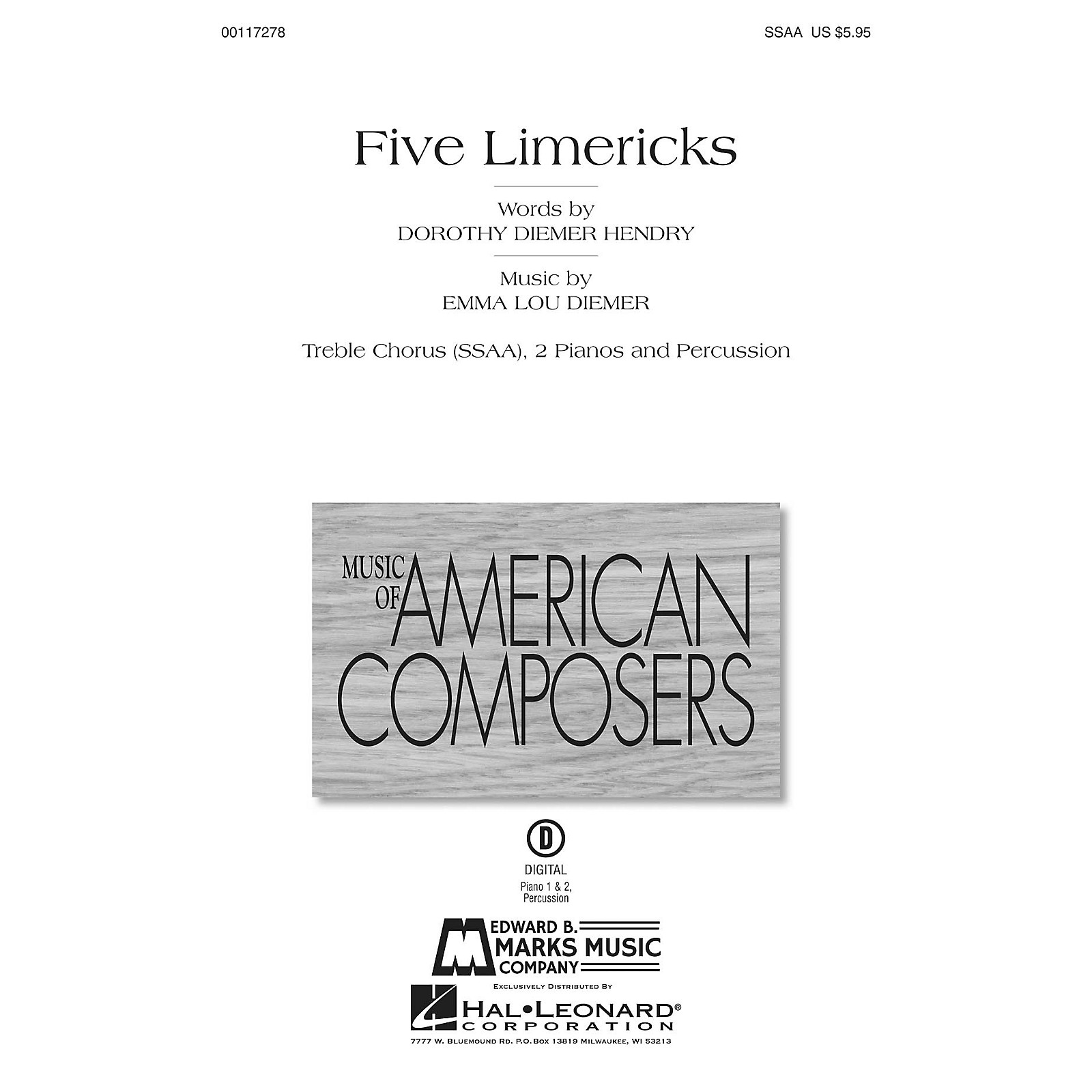 Edward B. Marks Music Company Five Limericks Score & Parts Composed by Emma Lou Diemer