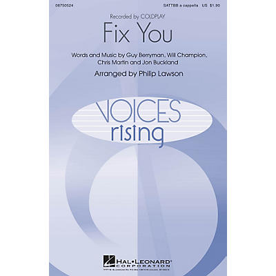 Hal Leonard Fix You SATTBB A Cappella by Coldplay arranged by Philip Lawson