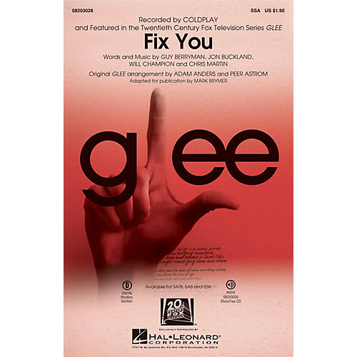 Hal Leonard Fix You SSA by Coldplay arranged by Adam Anders
