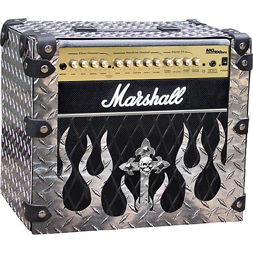 Amp Armor Flame and Skull Diamond Plate Amp Housing for Marshall MG100