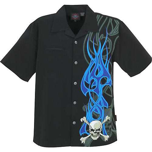 Dragonfly Clothing Flaming Crossbones Woven Shirt