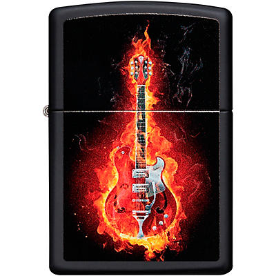 Zippo Flaming Guitar Lighter - Black Matte