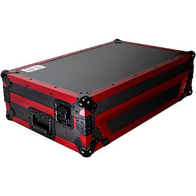ProX Flight Case for Pioneer DDJ-1000 / SRT/ SX3 w/ 1U Rackspace, Sliding Laptop Shelf & Wheels & LED KIT - Limited Edition Red