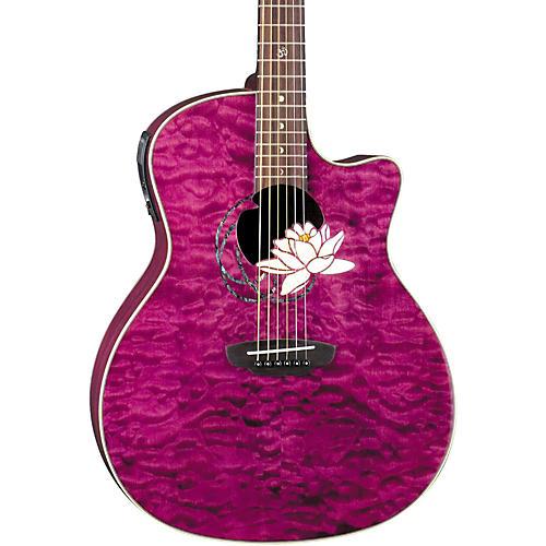 Luna Guitars Flora Series Lotus Grand Auditorium Cutaway Acoustic-Electric Guitar