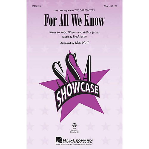 Hal Leonard For All We Know ShowTrax CD by The Carpenters Arranged by Mac Huff