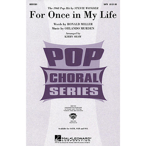 Hal Leonard For Once in My Life SSA by Stevie Wonder Arranged by Kirby Shaw