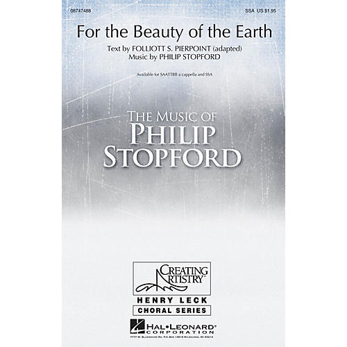 Hal Leonard For the Beauty of the Earth SAATTBB A CAPPELLA composed by Philip Stopford