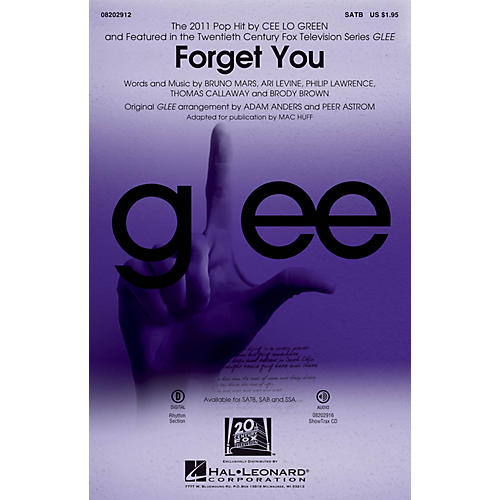 Hal Leonard Forget You (featured on Glee) SSA by Cee Lo Green Arranged by Adam Anders