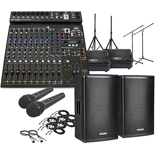 Fender Fortis F-12BT with PV14BT & KPX110PM Mains and Monitors PA System