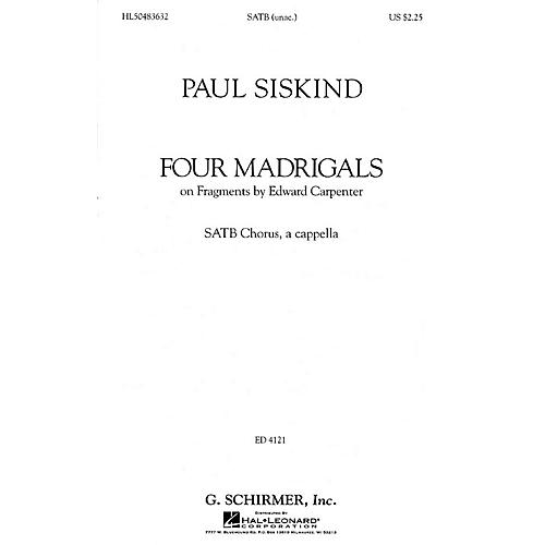 G. Schirmer Four Madrigals (SSAATTBB a cappella) SATB DV A Cappella composed by Paul Siskind