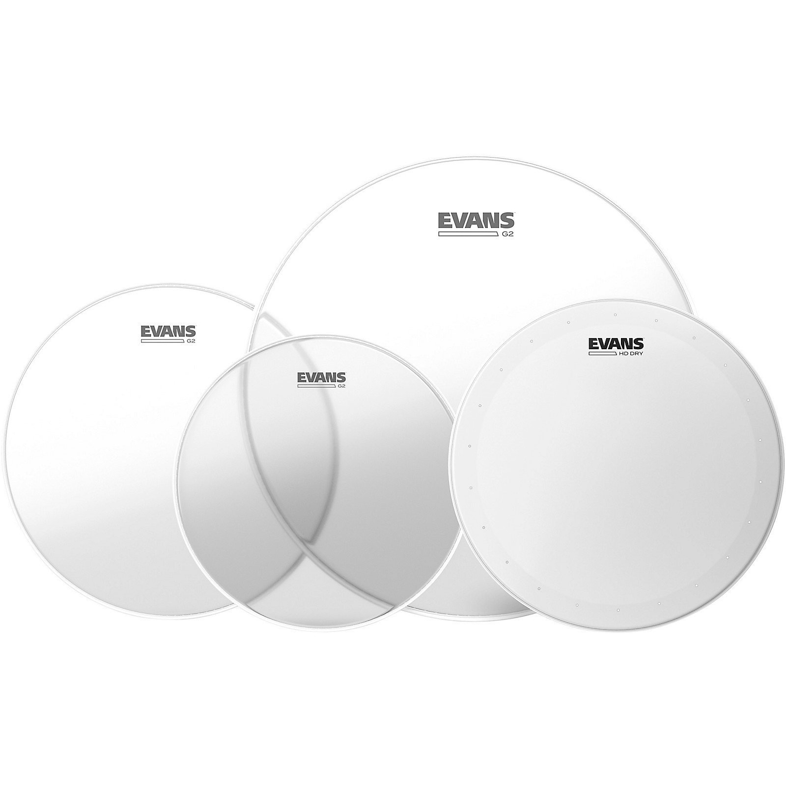 Evans G2 Clear Tom Heads with Free 14 in. HD Dry Snare Head