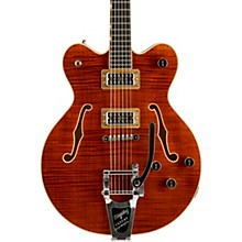 G6609TFM Players Edition Broadkaster Center Block with String-Thru Bigsby and Flame Maple Bourbon Stain