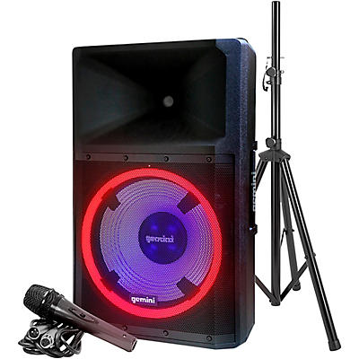 "Gemini GSP-L2200PK Active 15"" LED Portable Bluetooth Speaker with Stand and Mic"
