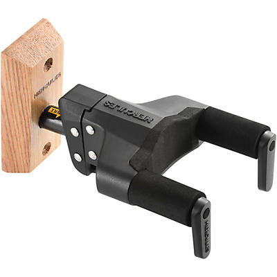 Hercules GSP38WB PLUS Auto Grip System (AGS) Guitar Wall Hanger Short Arm, Wooden Base