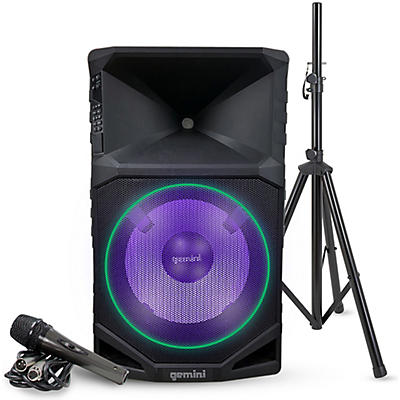 "Gemini GSW-T1500PK 15"" Rechargeable Weather Resistant Portable Speaker With Speaker Stand and Microphone"