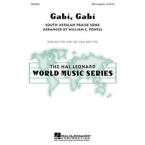 Hal Leonard Gabi, Gabi SAB A Cappella arranged by William Powell