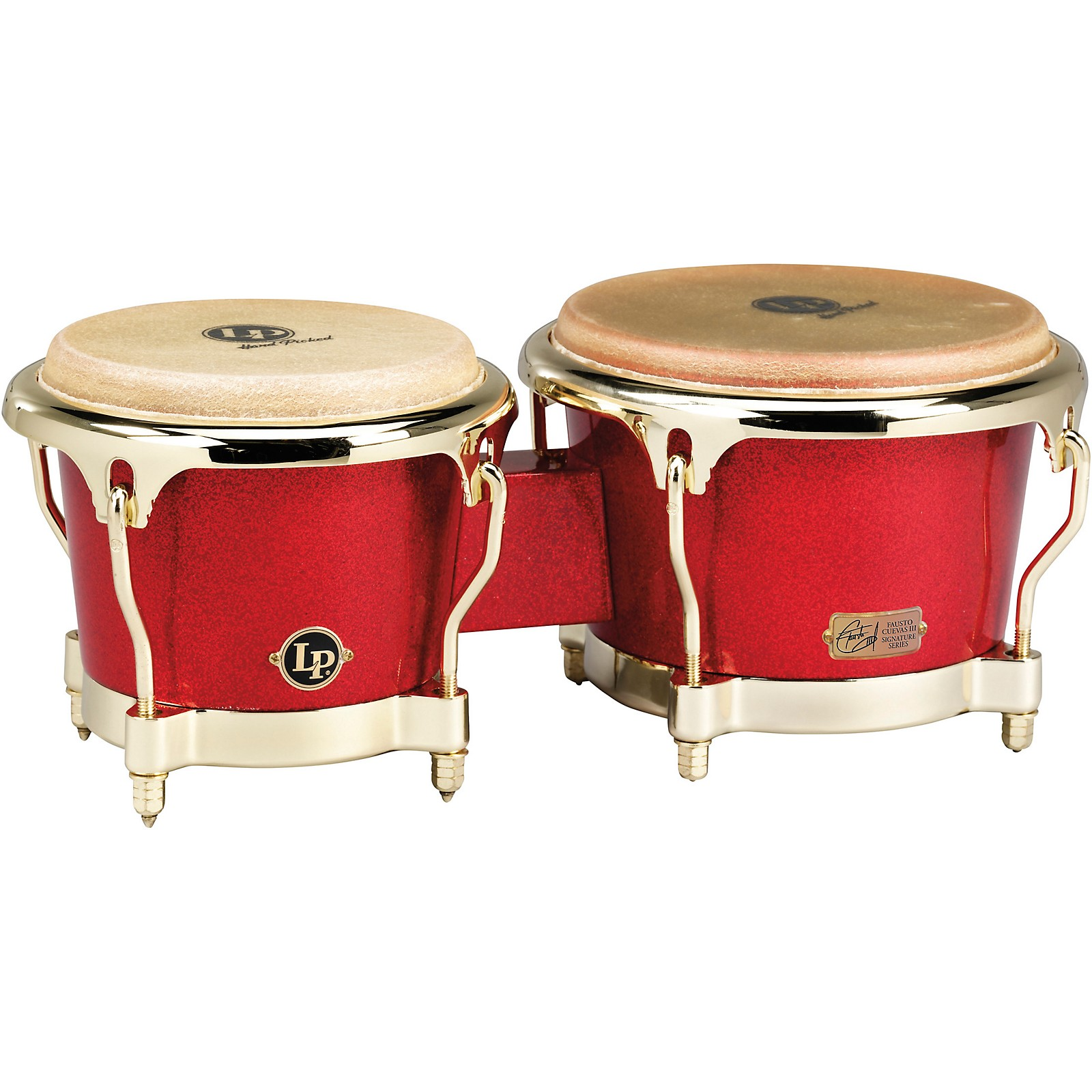 LP Galaxy Series Fiberglass Fausto Cuevas III Signature Bongos, Arena Red with Gold Hardware