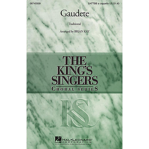 Hal Leonard Gaudete SATTBB A Cappella by The King's Singers arranged by Brian Kay