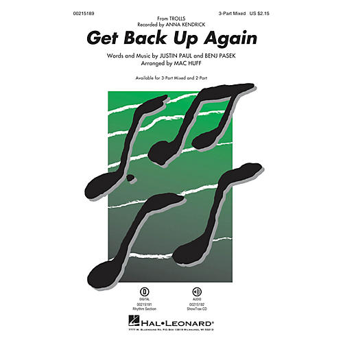 Hal Leonard Get Back Up Again (from Trolls) 3-Part Mixed by Anna Kendrick arranged by Mac Huff
