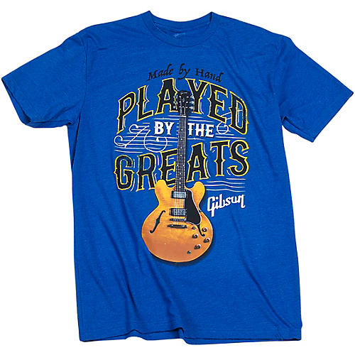 Gibson Gibson Played By The Greats Vintage T-Shirt Large Bright Royal Blue