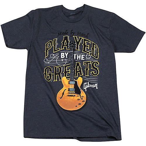 Gibson Gibson Played By The Greats Vintage T-Shirt Small Charcoal