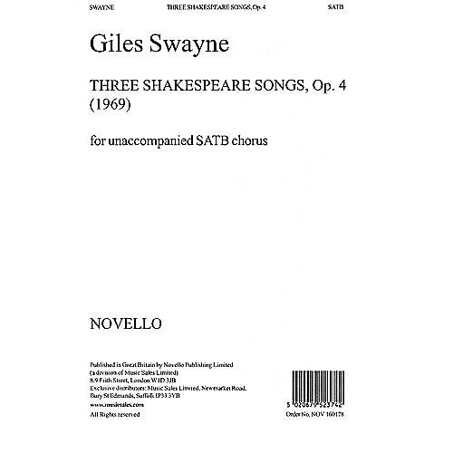 Music Sales Giles Swayne: Three Shakespeare Songs Op.4 SATB Music Sales America Series