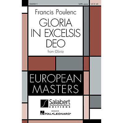 Editions Salabert Gloria in Excelsis Deo (from Gloria) SATB composed by Francis Poulenc