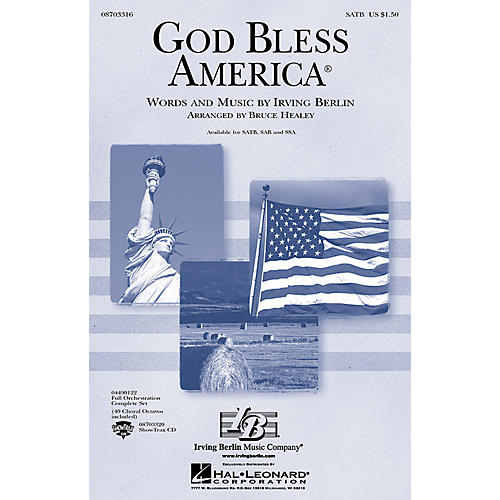 Hal Leonard God Bless America (Festival Edition w/Vocal Solo and opt. Narrator) SAB Arranged by Bruce Healey