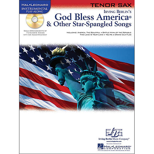 Hal Leonard God Bless America & Other Star-Spangled Songs for Tenor Sax Instrumental Play-Along Book/CD