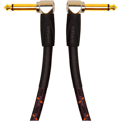 """Roland Gold Series 1/4"""" Angled/Angled Patch Cable"""