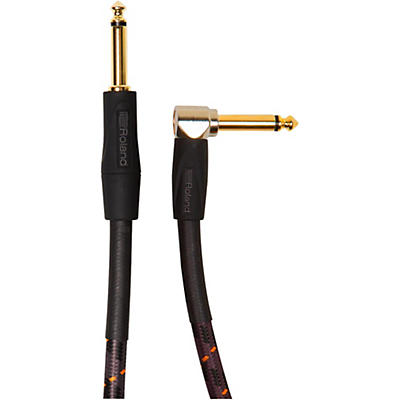 """Roland Gold Series 1/4"""" Angled/Straight Instrument Cable"""