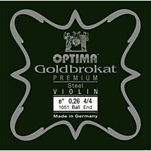 Goldbrokat Premium Series Steel Violin E String 4/4 Size, Light Steel, 26 guage ball end