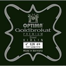 Goldbrokat Premium Series Steel Violin E String 4/4 Size, Light Steel, 26 guage loop end