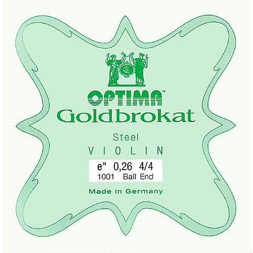 Optima Goldbrokat Series Steel Violin E String 4/4 Size, Light Steel, 26 guage ball end