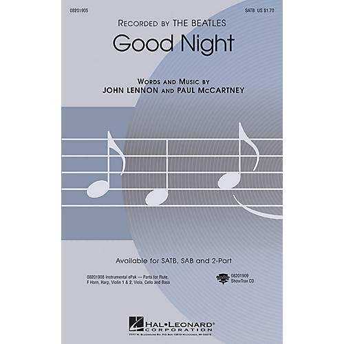 Hal Leonard Good Night 2-Part by The Beatles Arranged by Audrey Snyder