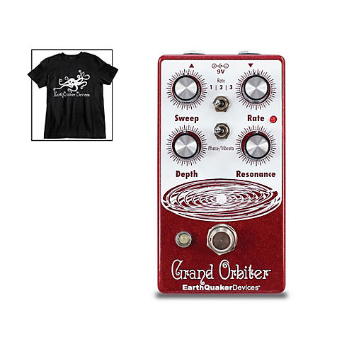 EarthQuaker Devices Grand Orbiter V3 Phase Effects Pedal and Octoskull T-Shirt Large Black