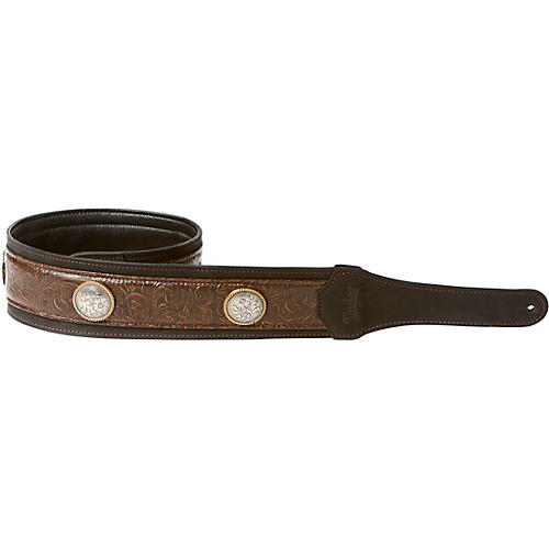 Taylor Grand Pacific Leather Strap, Nickel Conchos Black 3 in.