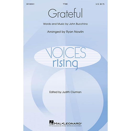 Hal Leonard Grateful (Voices Rising) TTBB composed by John Bucchino