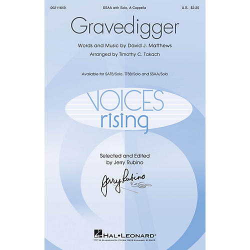 Hal Leonard Gravedigger SSAA WITH SOLO A CAPPELLA arranged by Timothy C. Takach