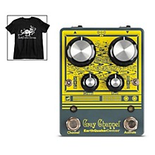 EarthQuaker Devices Gray Channel Dynamic Dirt Doubler Overdrive Effects Pedal and Octoskull T-Shirt Large Black