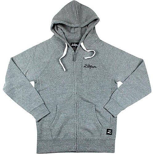 Zildjian Gray Zip Up Logo Hoodie Small Gray
